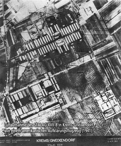 Luftaufnahme des STALAG XVIIb in Krems-Gneixendorf von einem amerikanischen Aufklärungsflugzeug (1941).