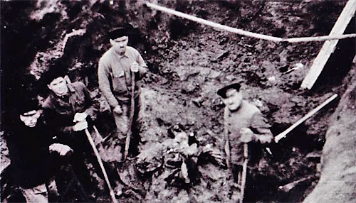 Exhumierung der in Krems Ermordeten vom 6. April 1945 (Sammlung Robert Streibel)